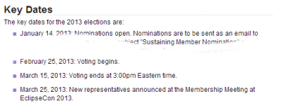 Important Dates 2013